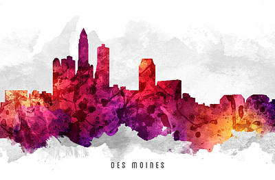 Iowa Digital Art - Des Moines Iowa Cityscape 14 by Aged Pixel