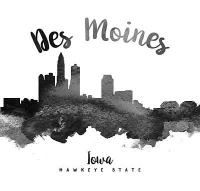 Iowa Digital Art - Des Moines Iowa Skyline 18 by Aged Pixel