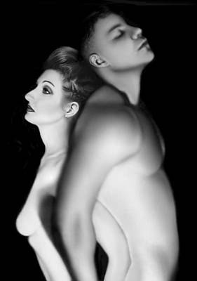 Black And White Nude Couple Photograph - Desdemona And Othello - Engaged And Entwined by Jaeda DeWalt