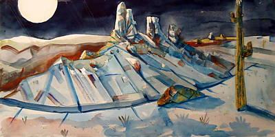 Strange Days Painting - Desert Moonscape by Steven Holder