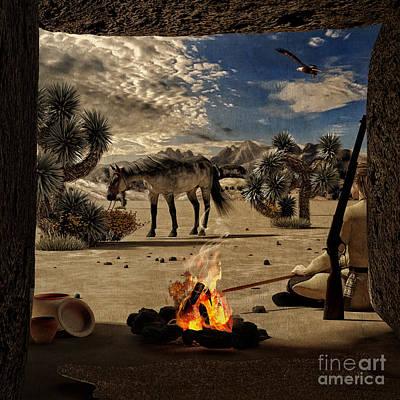 Mountain Digital Art - Desert Rest Stop by Methune Hively