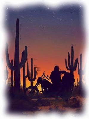 Desert Ride At Sunset Print by Wayne Bonney