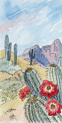 Desert Scene One Ink And Watercolor Print by Marilyn Smith