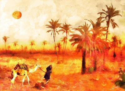 Pyramids Painting - Desert Traveller by George Rossidis