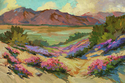 Mountain Valley Painting - Desert Verbena At Borrego Springs by Diane McClary