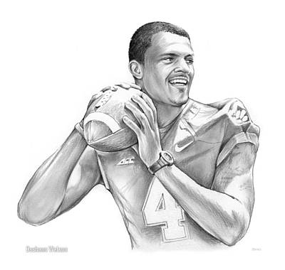 University Of Arizona Drawing - Deshaun Watson by Greg Joens