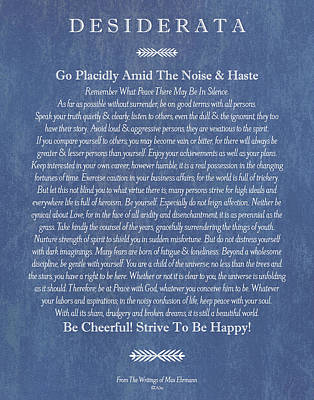 Desiderata On Blue Denim Print by Desiderata Gallery