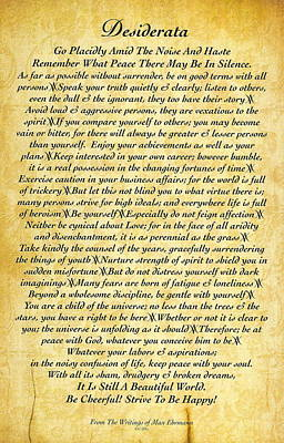 Desiderata Drawing - Desiderata On Embossed Antiqued Paper by Desiderata Gallery