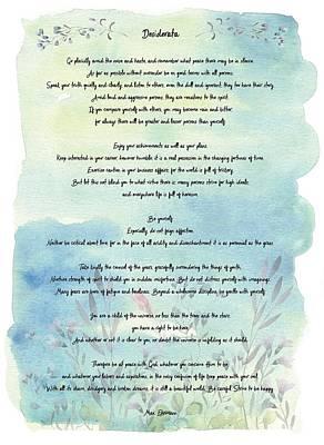 The Universe Digital Art - Desiderata Watercolor Floral Blue by Terry DeLuco
