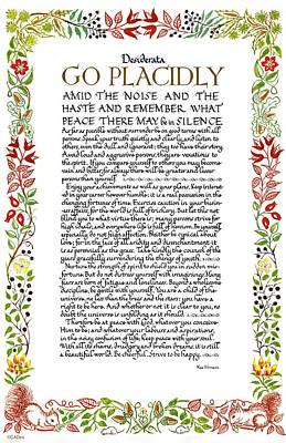 Desiderata Drawing - Desiderata Wildflowers Calligraphy by Desiderata Gallery