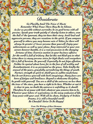 Desiderata Drawing - Desiderata With Deruta Florentine Italian Border by Desiderata Gallery