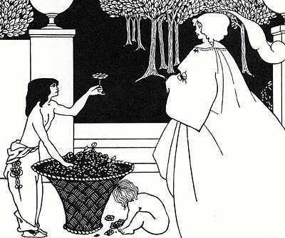 Garden Scene Drawing - Design For The Yellow Book by Aubrey Beardsley