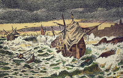 Seagull Drawing - Destruction By Storms Of The Invincible Spanish Armada by Spanish School