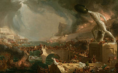Cole Painting - Destruction  by Thomas Cole