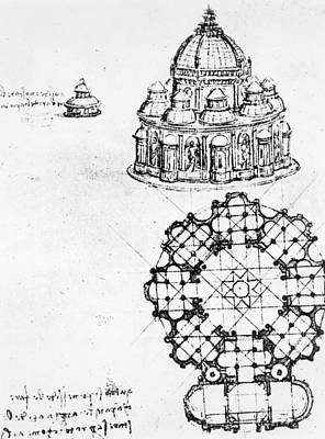 Religious Drawing - Detail Of A Centralised Church by Leonardo Da Vinci
