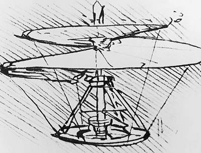 Helicopter Drawing - Detail Of A Design For A Flying Machine by Leonardo Da Vinci