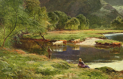 Cow Boy Painting - Detail Of A Highland Loch Scene by Sidney Richard Percy