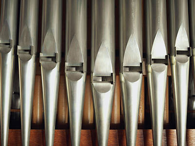 In A Row Photograph - Detail Of A Pipe Organ by Gregor Hohenberg