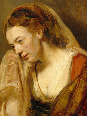 Tissue Art Painting - Detail Of A Weeping Woman by Rembrandt