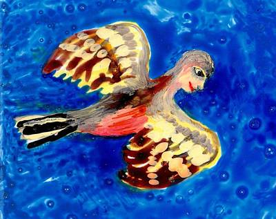 Detail Of Bird People Flying Chaffinch  Print by Sushila Burgess