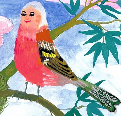 Detail Of Bird People The Chaffinch Family Father Print by Sushila Burgess
