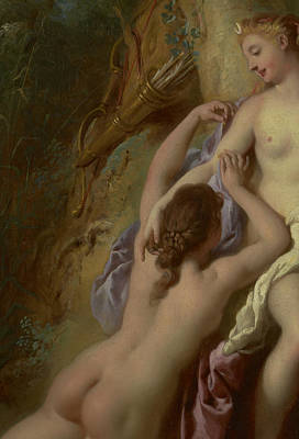 Lesbian Painting - Detail Of Diana And Her Nymphs Bathing by Jean Francois de Troy
