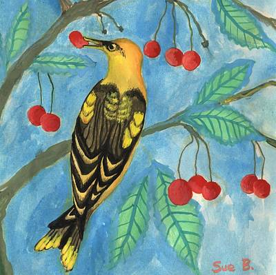 Sue Burgess Painting - Detail Of Golden Orioles In A Cherry Tree by Sushila Burgess