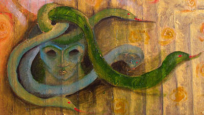 Gorgon Painting - detail of Medusa by Erika Brown