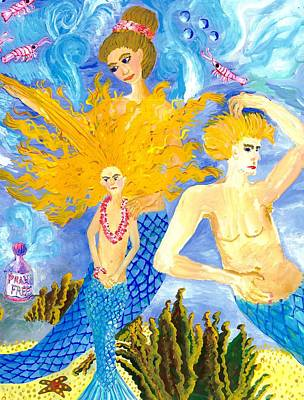 Sue Burgess Painting - Detail Of Mer Mum And Comb The Family by Sushila Burgess