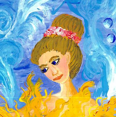 Mermaid Painting - Detail Of Mer Mum And Comb The Mother by Sushila Burgess