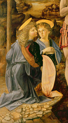 Detail Of The Baptism Of Christ By John The Baptist Print by Andrea Verrocchio and