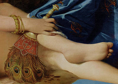 1814 Painting - Detail Of The Grand Odalisque by Jean Auguste Dominique Ingres
