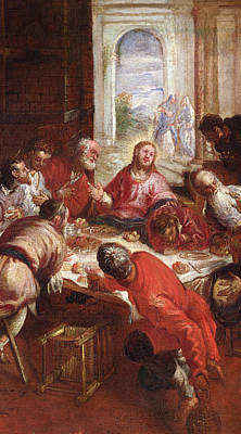Meal Painting - Detail Of The Last Supper by Jacopo Robusti Tintoretto