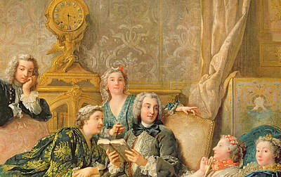 Detail Of The Reading From Moliere Print by Jean Francois de Troy