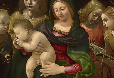 Detail Of Virgin And Child With The Young Saint John The Baptist, Saint Cecilia, And Angels Print by Piero di Cosimo