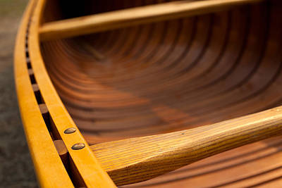 Kelowna Photograph - Details Of The Gunwales On A Cedar Strip Canoe by Kaare Iverson