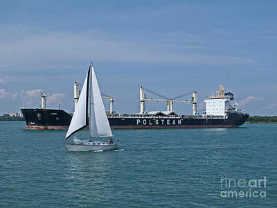 Detroit River Sailing Print by Ann Horn
