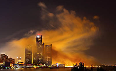 Detroit Skyline Covered In Smoke Original by Cosmin Nahaiciuc