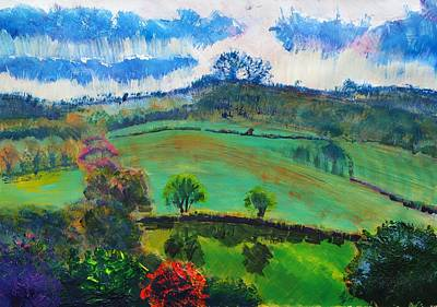 A Summer Evening Landscape Painting - Devon Landscape Painting by Mike Jory