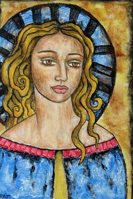 Christian Art . Devotional Art Painting - Devonee by Rain Ririn