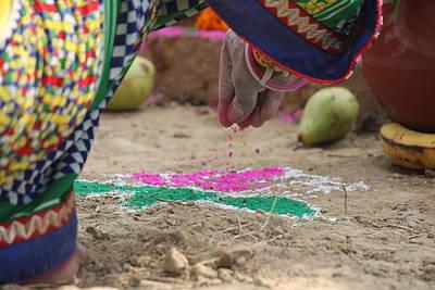 Rangoli Photograph - Devotional Artist At Work, Barsana by Jennifer Mazzucco