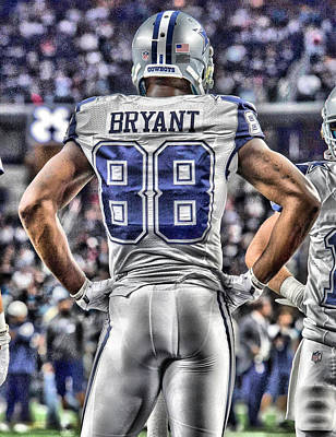 Team Painting - Dez Bryant Cowboys Art 2 by Joe Hamilton