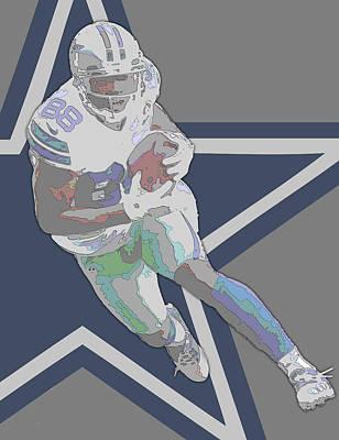 Dallas Mixed Media - Dez Bryant Dallas Cowboys Contour Art by Joe Hamilton