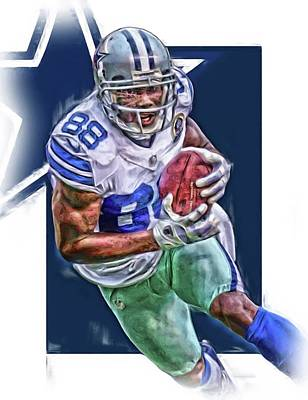 Super Bowl Mixed Media - Dez Bryant Dallas Cowboys Oil Art by Joe Hamilton