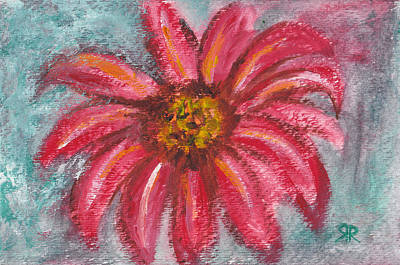 Blue And Red Painting - Dhalia Flower by Rashmi Rao