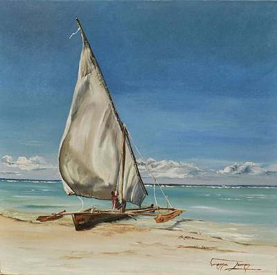 Painting - Dhow Of Mozambique  by Vanessa Lomas