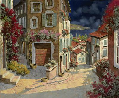 Village Painting - Di Notte Al Mare by Guido Borelli