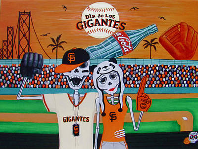 Baseball Parks Painting - Dia De Los Gigantes by Evangelina Portillo
