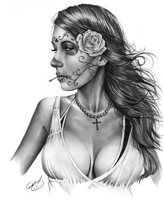 Pin Drawing - Dia De Los Muertos 1 by Pete Tapang