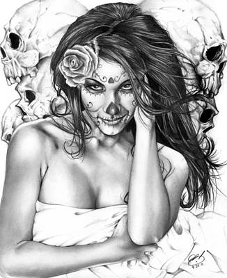 Black And White Painting - Dia De Los Muertos 2 by Pete Tapang